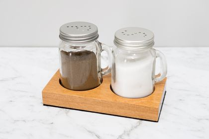 Salt and Pepper Shakers with Rimu Holder