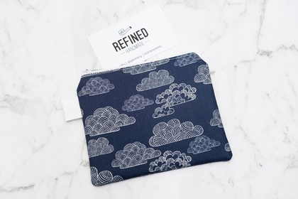 Navy Blue Clouds Zippered Pouch