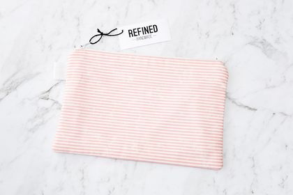 Large Zippered Pouch - Pink Stripes