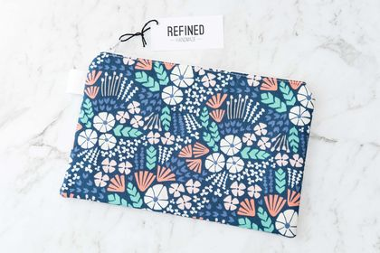 Large Zippered Pouch - Blue Ocean