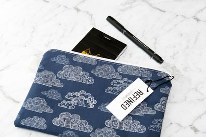 Large Zippered Pouch - Clouds
