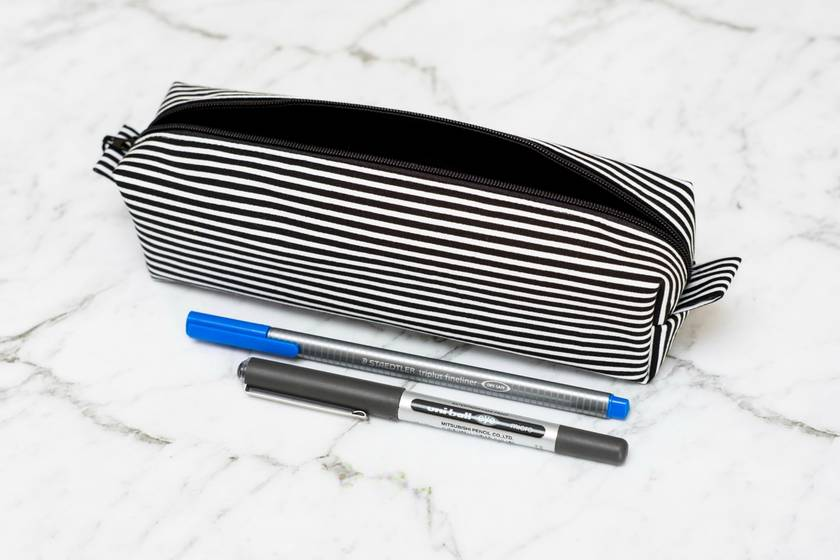 Black and White Striped Box Pencil Case