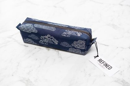 Navy Clouds Box Pencil Case