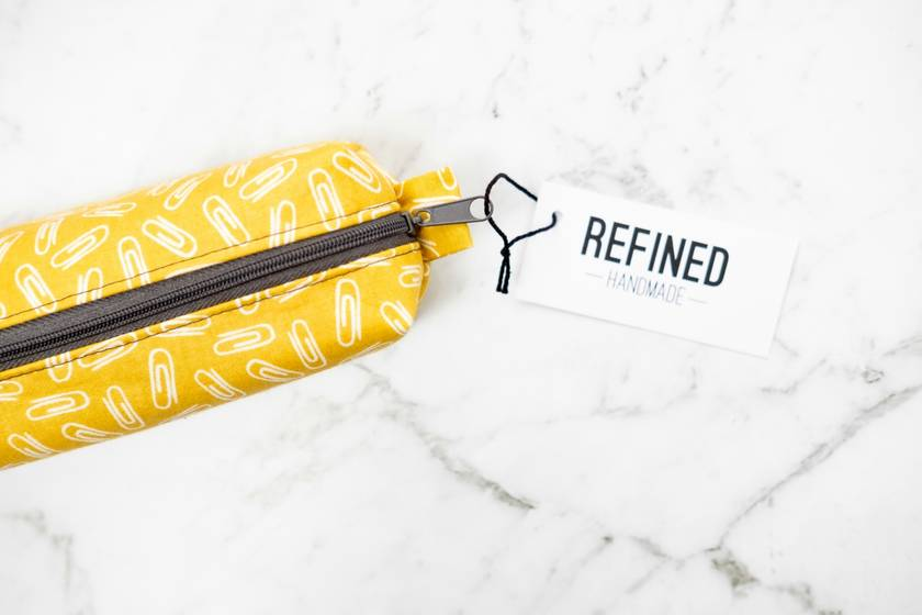 Mustard Paperclips Pencil Case