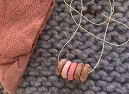Copper + Two pink beads