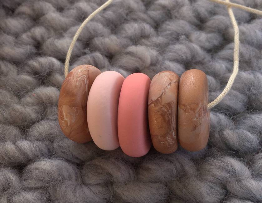 SALE Copper + Two pink beads