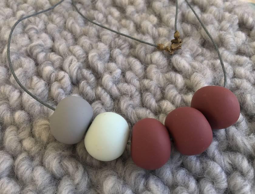 Burgundy, blue, grey beads