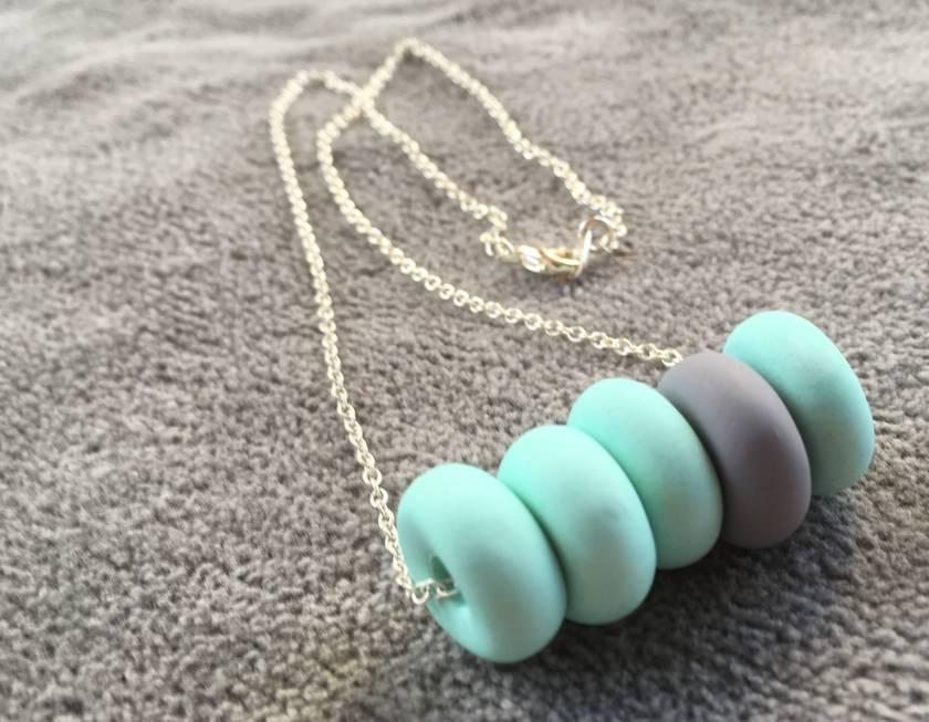 Mint + Grey little beads