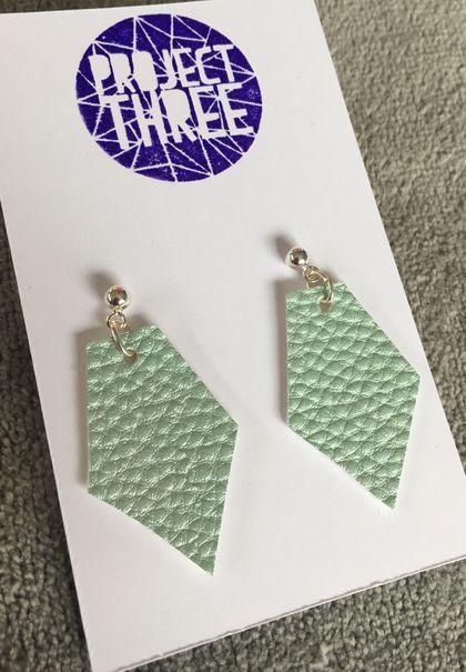 Kite vegan leather earrings - small metallic green