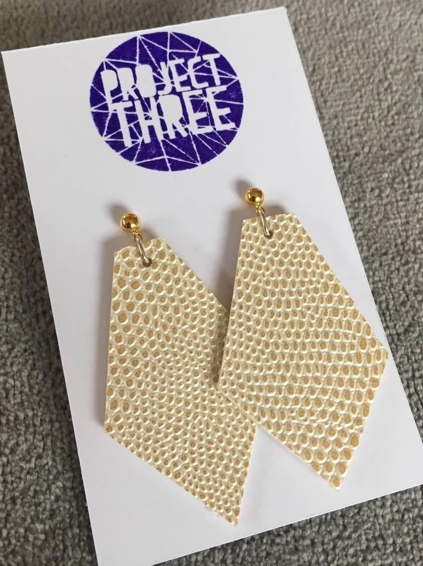 Kite vegan leather earrings - large snake skin metallic