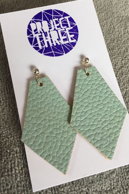 Kite vegan leather earrings - large matte green
