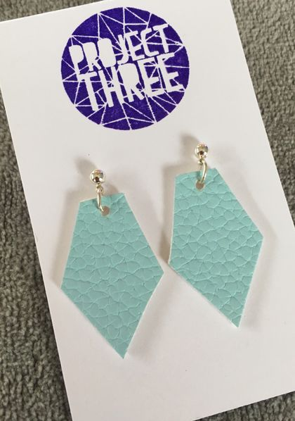 Kite vegan leather earrings - small turquoise