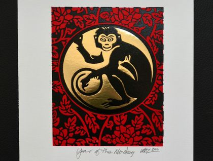 The Year of the Monkey - Lino Print Red/Black & Gold foil (FREE POST IN NZ)