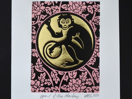 The Year of the Monkey - Lino Print Pink/Black & Gold foil (FREE POST IN NZ)