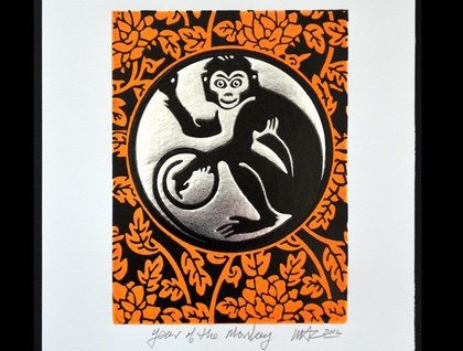 The Year of the Monkey - Lino Print Orange/Black & Silver foil (FREE POST IN NZ)