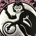 The Year of the Monkey - Lino Print Pink/Black & Silver foil (FREE POST IN NZ)