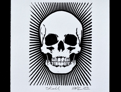 Skull - Lino Print Black & White (FREE POST IN NZ)