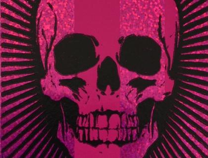 Skull - Lino Print Black with Pink Glitter Foil Stripe (FREE POST IN NZ)