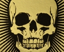 Skull - Lino Print Black with Gold Foil  (FREE POST IN NZ)