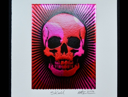 Skull - Lino Print Black with Red & Pink Foil Dots (FREE POST IN NZ)
