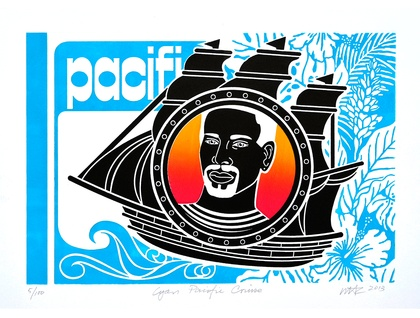 Cyan Pacific Cruise- Large Colour Lino Print -  limited edition