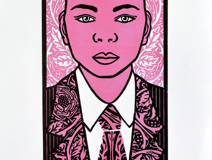 In the Pink - Large Colour Lino Print -  limited edition