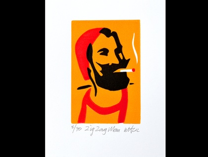Zig Zag Man - Lino Print 3 colour small Lino print - Limited edition