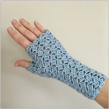 Fingerless Gloves - Sparkle Blue