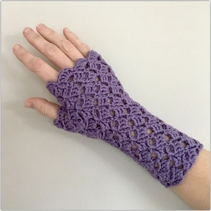 Fingerless Merino Gloves - Purple