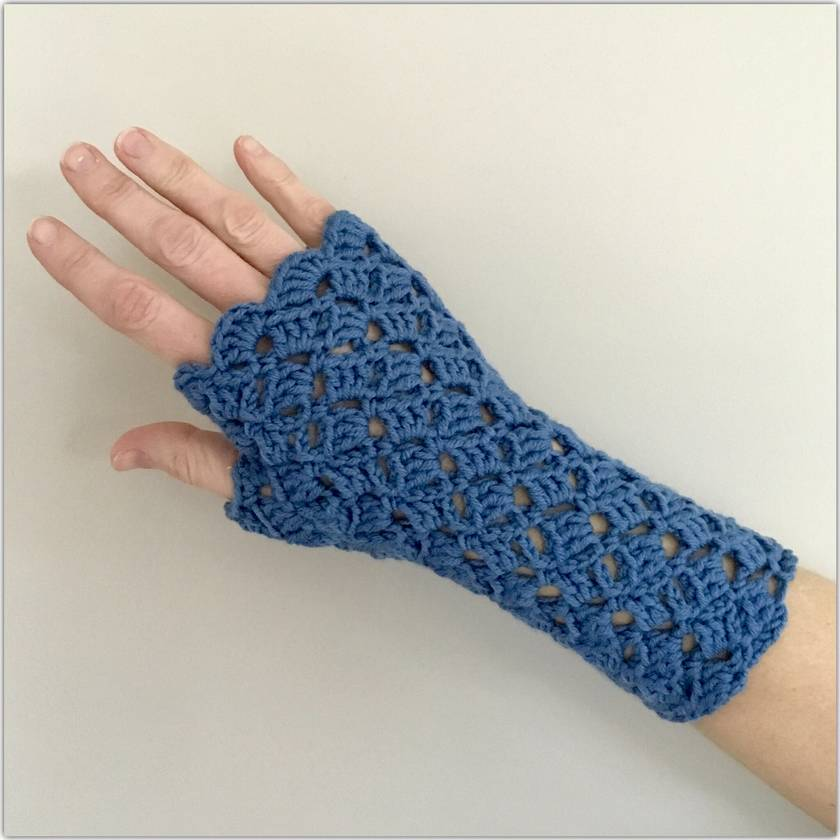 Fingerless Merino Gloves - Blue