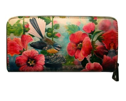 Fantail and Hollyhocks Art Wallet