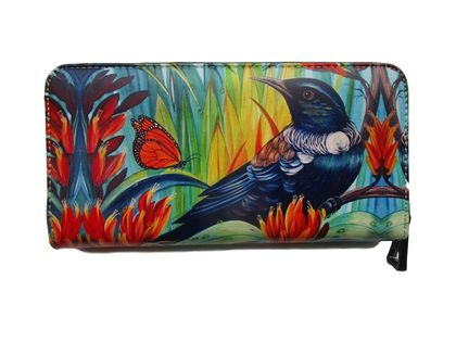 Tui Bird and Monarch Butterfly Art Wallet