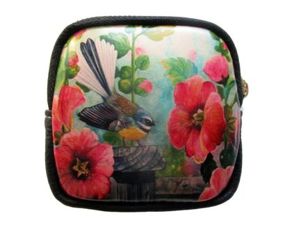 Fine Art Coin Purse- Fantail and Hollyhocks