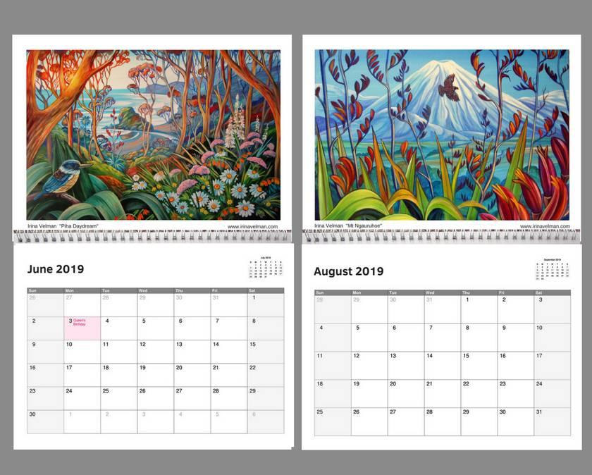 2019 calendar nz artist irina velman