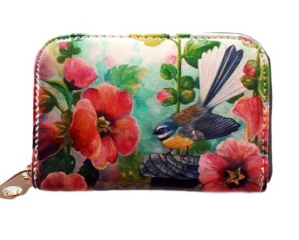 Leather Card Holder- Fantail and Hollyhocks