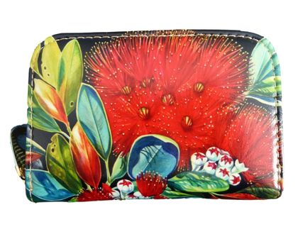 Pohutukawa flower Leather Cardholder