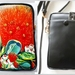 Leather Cell Phone Bag with Adjustable Strap, Pohutukawa Flower