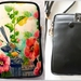 Leather Cell Phone Bag with Adjustable Strap, Fantail and Hollyhocks