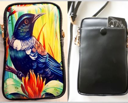 Leather Cell Phone Bag with Adjustable Strap, NZ Tui Bird