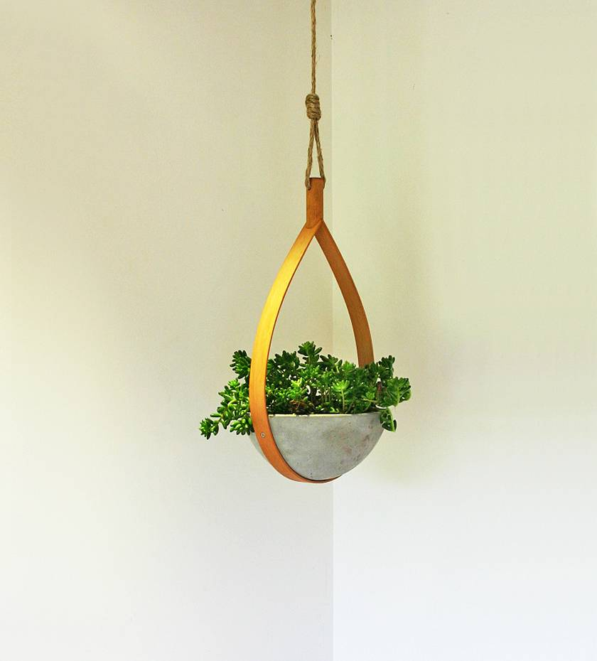 Wood and Concrete Hanging Indoor Planter
