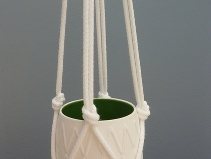 Coloured bowl and macrame hanger
