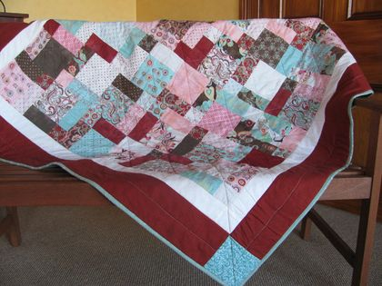 Terracotta and Teal Tiles Quilt