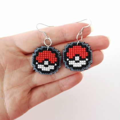 Cross Stitch Pokeball Earrings
