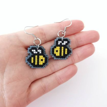 Cross Stitch Bee Earrings