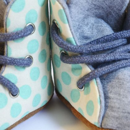 Baby Blue Polka Dot Hightop Boots Soft Soled Baby Toddler Shoes Lace Up | Boxing Boots
