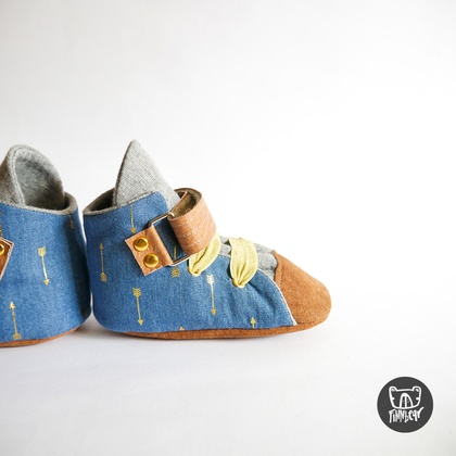 Denim & Gold Velcro Soft Sole Baby and Toddler Sneakers