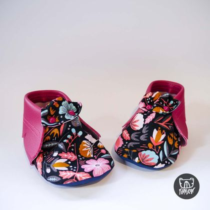 Hot Pink Floral Vegan Leather Soft Sole Baby Toddler Moccasins
