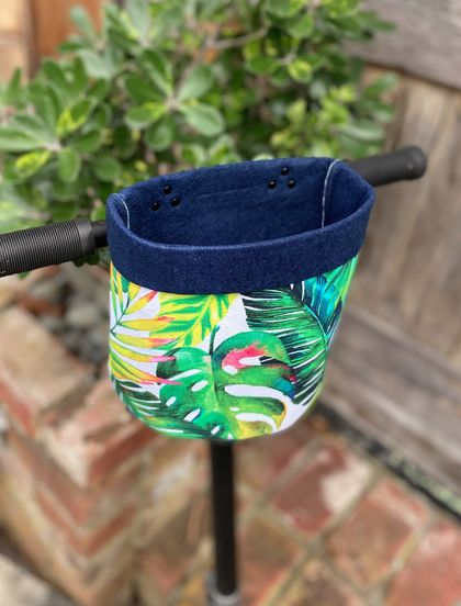 Full Size Bike & Scooter Handle Bar Basket | Tropical Leaves