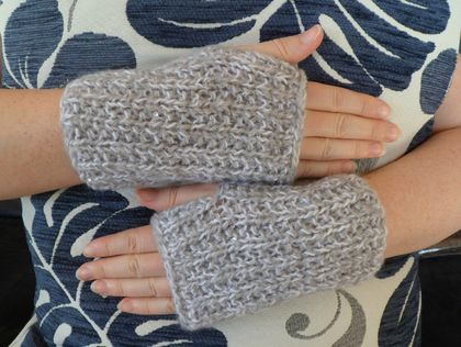 Grey Sequined Knitted Hand Warmers - by Amanda @ A Kinder World