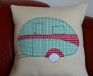 Cushion Cover with Retro Caravan